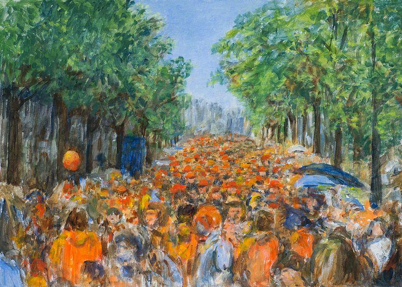 Koningsdag oranje boven op Rozengracht Amsterdam van Paul Nieuwendijk