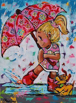 Meisje met Paraplu van Vrolijk Schilderij