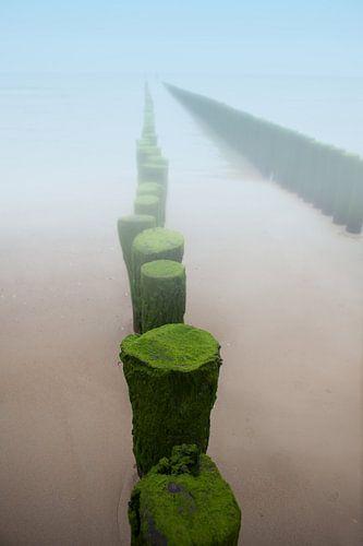 Golfbreker in de mist aan het strand van de kust in Zeeland van Wout Kok