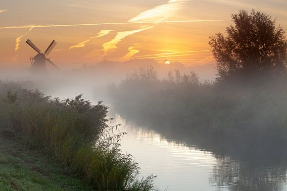 Mist bij de Noordermolen
