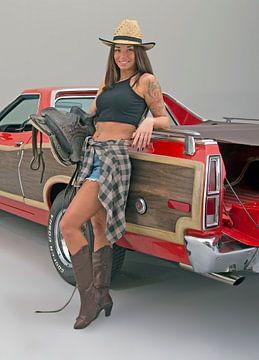 Cowgirl Ford Ranchero van Willem van Holten