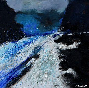 Blauwe stroom van pol ledent