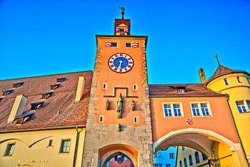 Historische stadstoren met werelderfgoedcentrum Regensburg van Roith Fotografie
