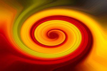 Abstraktion mit gelben, grünen und roten Linien von J..M de Jong-Jansen