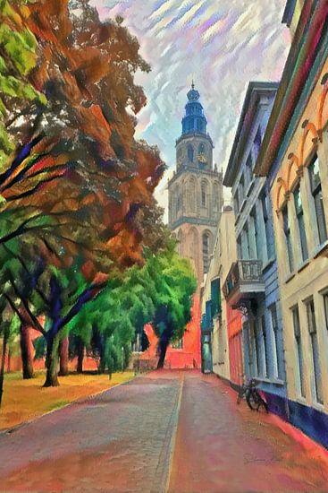 Schilderij Martinitoren Groningen vanaf Martinikerkhof