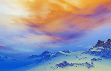 Montagnes enneigées au crépuscule 2 sur Angel Estevez