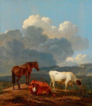 Italianiserend landschap met vee, Karel Dujardin