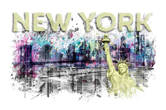 Modern Art NEW YORK CITY Skyline Splashes | geel van Melanie Viola