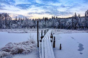 Brücke über einen schwedischen See von Fields Sweden