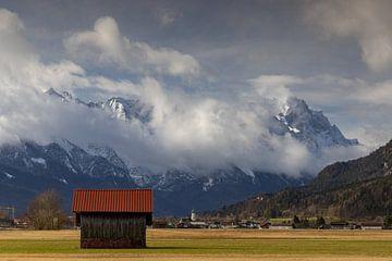 Blick zur Alpspitze und Zugspitze