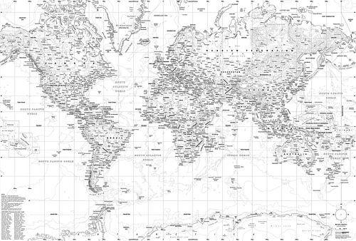Wereldkaart, Zwart-wit van