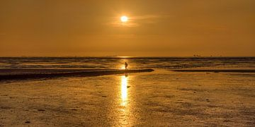Sonnenuntergang mit Wadloper über dem Wad bei PaesensModderhole von Harrie Muis