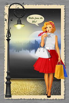 Hallo uit de jaren '50 Shopping Girl van Monika Jüngling