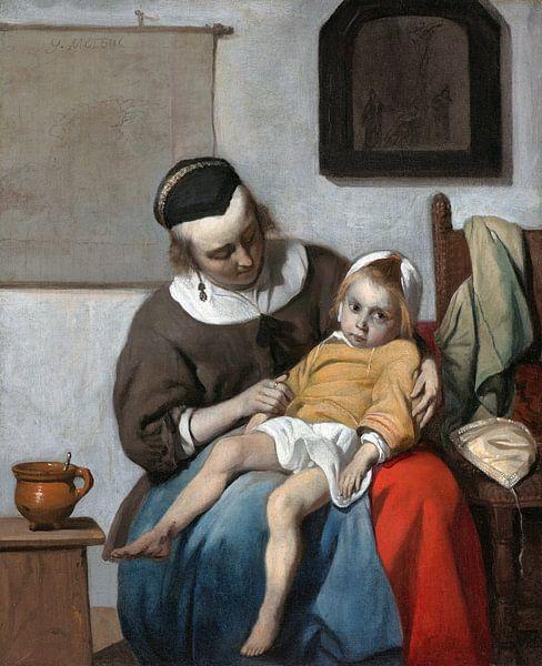 Das kranke Kind, Gabriel Metsu von 1000 Schilderijen