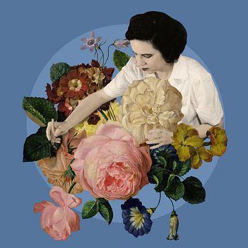 Rose peignant des roses sur Marja van den Hurk
