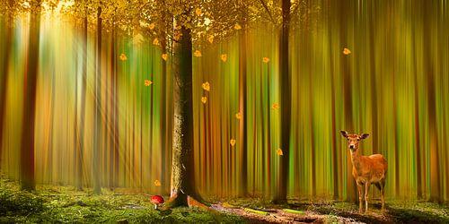 Herten in de herfst bos van Monika Jüngling