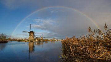 Regenboog boven Kinderdijk  van André Hamerpagt