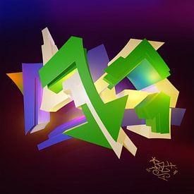 """Stoer kleurrijk 3D graffiti kunstwerk met de naam """"Tez 1"""" en tag"""" van Pat Bloom - Moderne 3D, abstracte kubistische en futurisme kunst"""