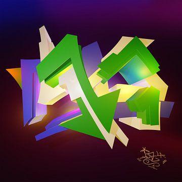 """Stoer kleurrijk 3D graffiti kunstwerk met de naam """"Tez 1"""" en tag"""" van Pat Bloom - Moderne 3d en abstracte kubistiche kunst"""