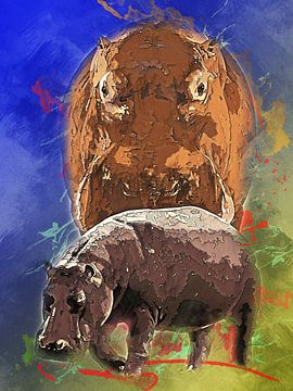 nijlpaarden van Printed Artings