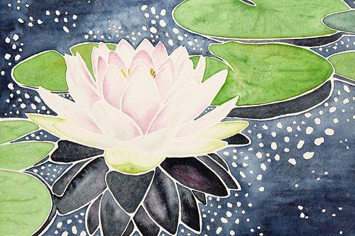 Roze lotusbloem in sprankelend water