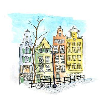 Huizen in Amsterdam van Ivonne Wierink