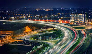 Noordelijke Ringweg Groningen in de nacht thv Bedumerweg/Noordzeebrug van