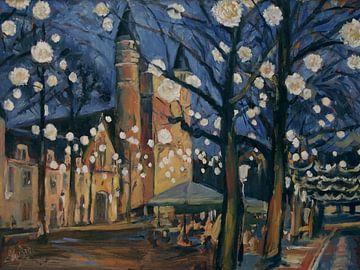 December feestlichtjes op het Onze Lieve Vrouwe plein te Maastricht van Nop Briex