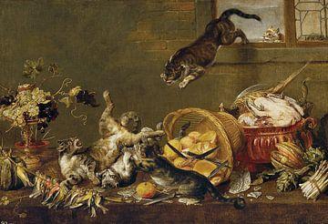 Balgende Katzen in der Vorratskammer - Paul de Vos