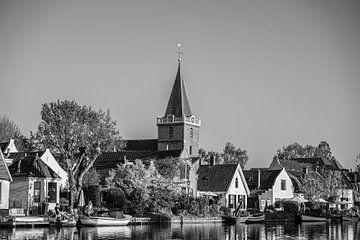 Domtoren vanaf het Neude, Utrecht (zwart-wit) van Kaj Hendriks