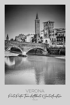 In beeld: VERONA Ponte Pietra, Torre di Alberto & Sant'Anastasia van Melanie Viola