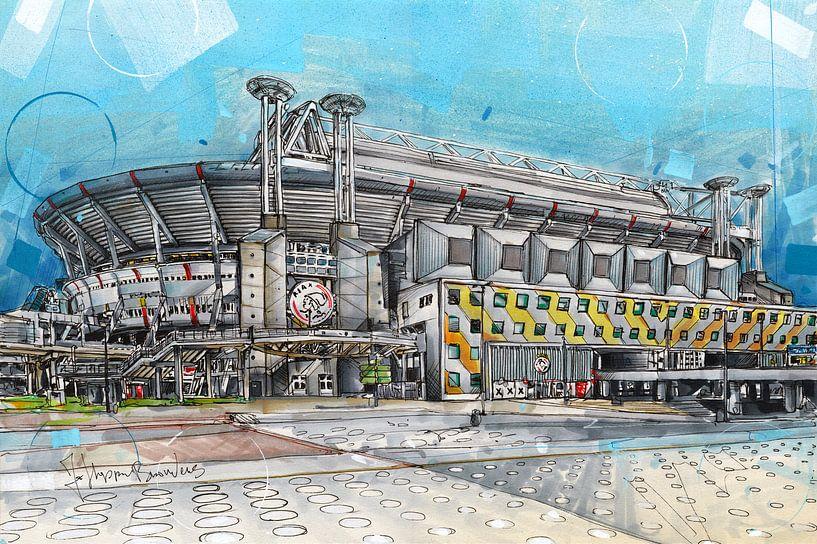 Ajax 'Johan Cruijff ArenA' schilderij van Jos Hoppenbrouwers