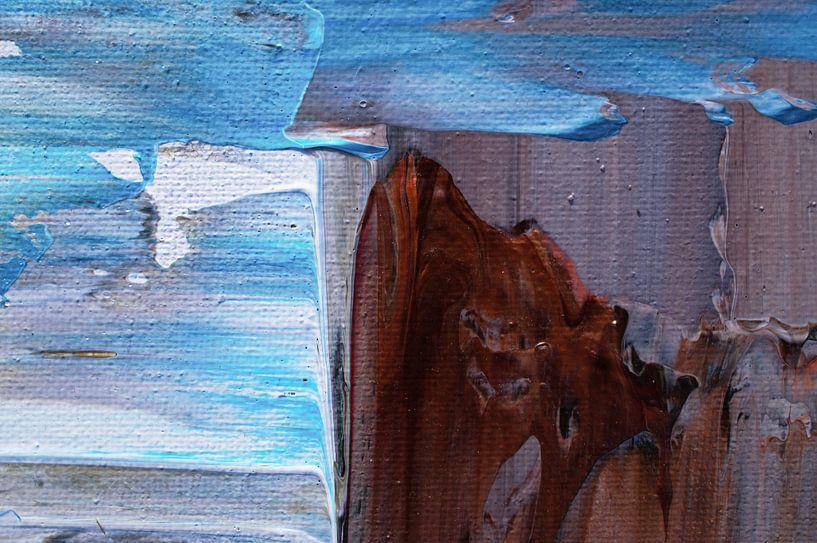 Macrofoto van acrylic pouring turquoise bruin van Angelique van 't Riet