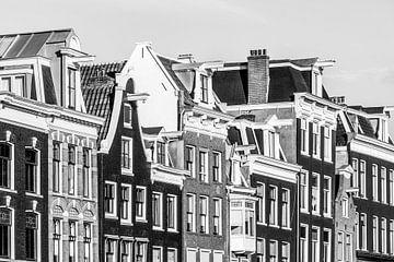 Grachtenhäuser in der Prinsengracht in Amsterdam / Schwarzweiss von Werner Dieterich