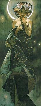 De Maan en de Sterren: De Maan - Art Nouveau Schilderij Mucha Jugendstil sur