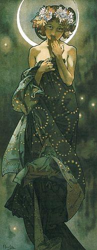 De Maan en de Sterren: De Maan - Art Nouveau Schilderij Mucha Jugendstil von Alphonse Mucha