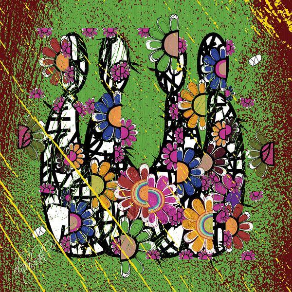 kleurrijke abstracte kunst van menselijke relaties van EL QOCH