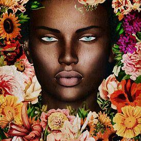 Femme du monde - Portrait de femme africaine entourée de fleurs sur Jan Keteleer