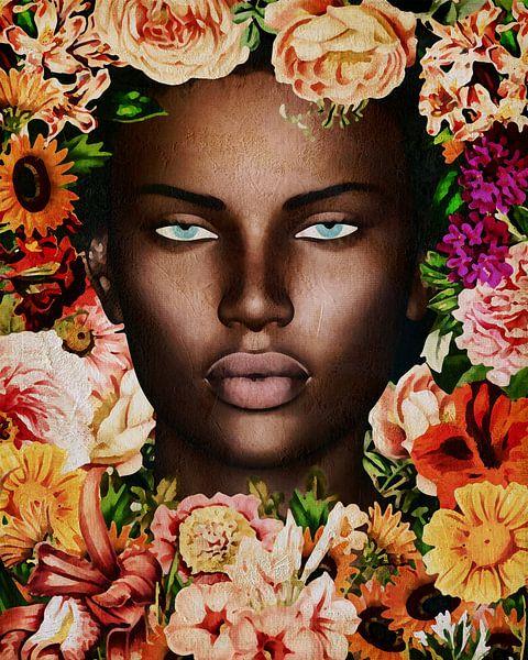 Vrouw van de wereld - Portret van Afrikaanse vrouw omringd met bloemen van Jan Keteleer