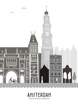 Skyline illustratie hoofdstad Amsterdam | Mokum zwart-wit-grijs van Mevrouw Emmer