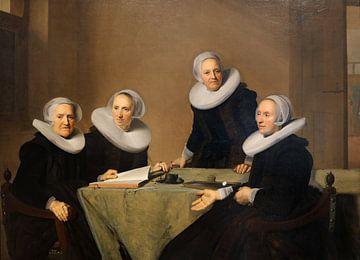 Groepsportret van de regentessen van het St. Elisabeths of Groote Gasthuis te Haarlem, Johannes Corn sur