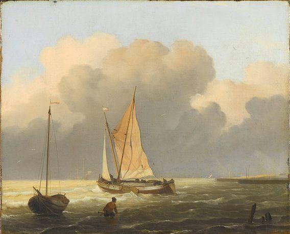 Kustgezicht met tjalk, Ludolf Bakhuysen van Meesterlijcke Meesters