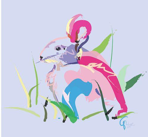 Kaninchen in der Farbe von