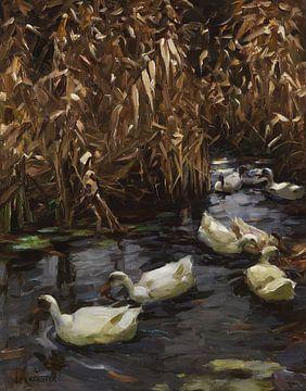 Acht Enten im Herbstschilf, ALEXANDER KOESTER, Ca. 1900-1905 von Atelier Liesjes