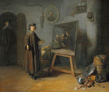 Un peintre dans son atelier, Rembrandt sur