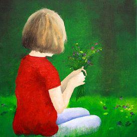 Mädchen pflückt Blumen von Andrea Meyer
