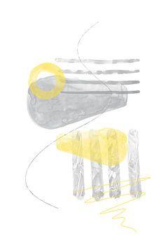 Aquarel Vormen Nr. 3 | Verlichtend Geel & Ultiem Grijs van Melanie Viola
