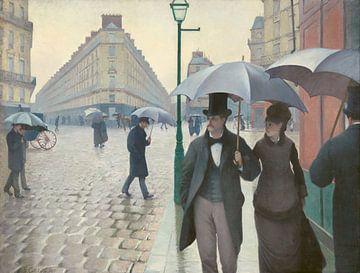 Rue de Paris, temps de pluie van Gustave Caillebotte sur