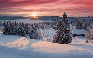 Besneeuwde blokhutten en bomen aan de oever van Sjusjoen Meer tijdens tijdens zonsopkomst van