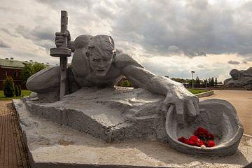 Het beeld Dorst in Heldenfort van Brest, Belarus van Adelheid Smitt